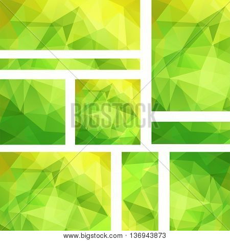 Set Of Banner Templates With Abstract Background. Modern Vector Banners With Polygonal Background. G