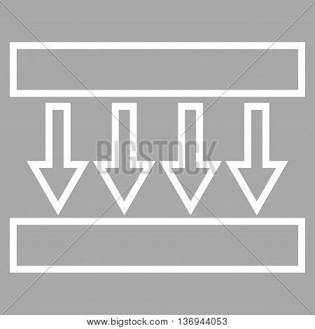 Pressure Vertical vector icon. Style is outline icon symbol, white color, silver background.