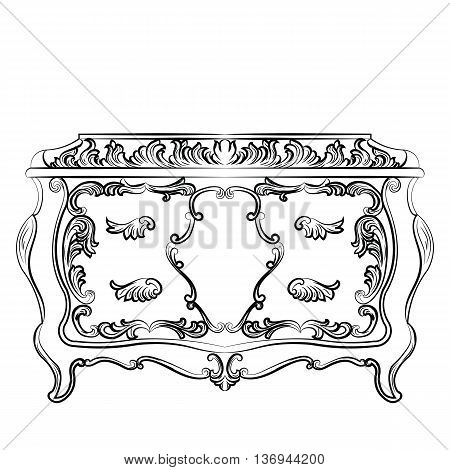 Rich Baroque Dressing Table with drawers. French Luxury rich carved ornaments furniture. Vector Victorian Royal Style furniture