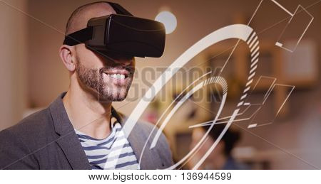 Blue interface against male graphic designer wearing virtual glasses
