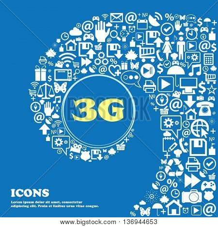 3G Sign Icon. Mobile Telecommunications Technology Symbol . Nice Set Of Beautiful Icons Twisted Spir
