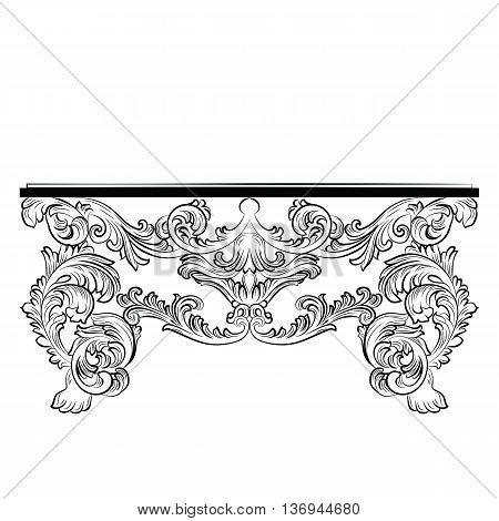 Rich Baroque Table. French Luxury rich carved ornaments furniture. Vector Victorian Royal Style furniture