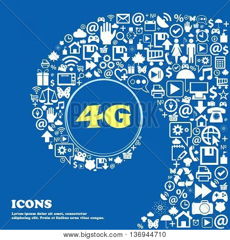4G Sign Icon. Mobile Telecommunications Technology Symbol . Nice Set Of Beautiful Icons Twisted Spir