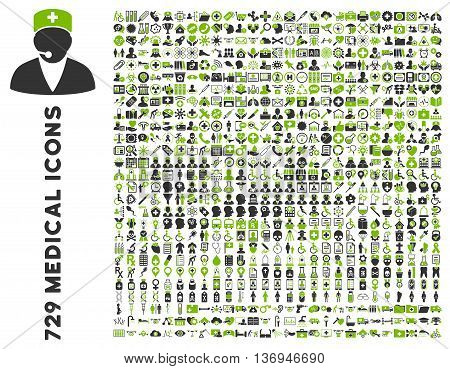Medical Icon Collection with 729 vector icons. Style is bicolor eco green and gray flat icons isolated on a white background.