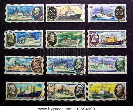 CCCP Stamps, boats
