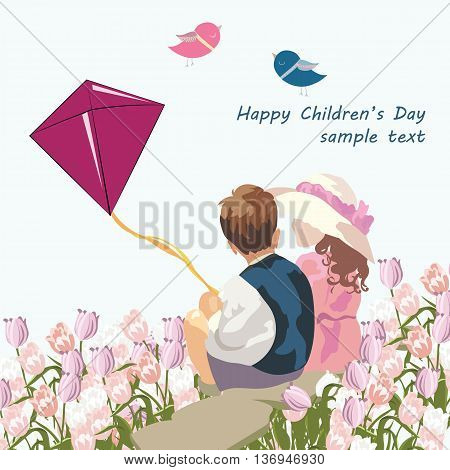 Happy kids in a meadow of tulips. Vintage Illustration of two children playing together. Composition for Children's Day or Friendship Day