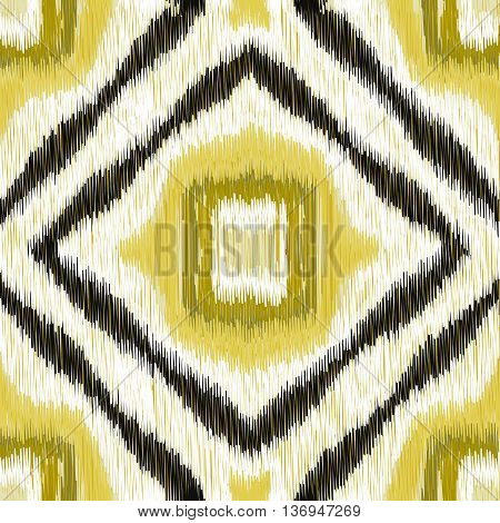Seamless Ikat Pattern with geometrical drawing. Abstract background for textile design wallpaper surface textures wrapping paper.