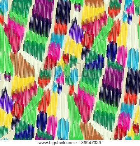 Seamless Ikat Pattern with bright multi-color spots. Abstract background for textile design wallpaper surface textures wrapping paper.