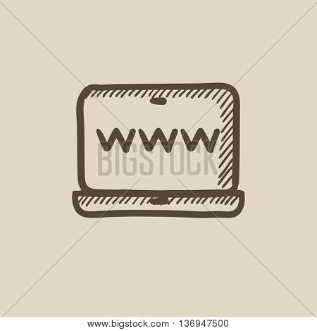 Website on laptop screen vector sketch icon isolated on background. Hand drawn Website on laptop screen icon. Website on laptop screen sketch icon for infographic, website or app.