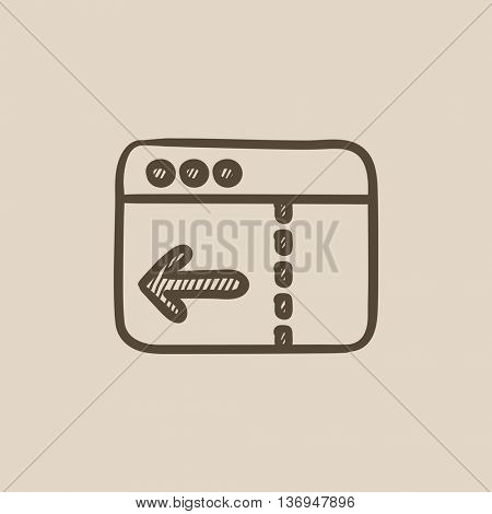 Browser window with arrow left vector sketch icon isolated on background. Hand drawn Browser window with arrow left icon. Browser window with arrow left sketch icon for infographic, website or app.
