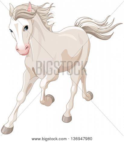 Illustration of running beautiful white horse