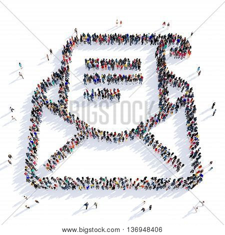 Large and creative group of people gathered together in the shape of a letter, an email. 3D illustration, isolated against a white background.