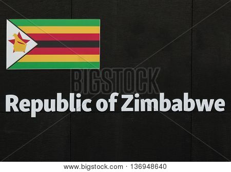 Word Zimbabwe Emblem at Universal Exposition's Pavilion in Milan Italy 2015