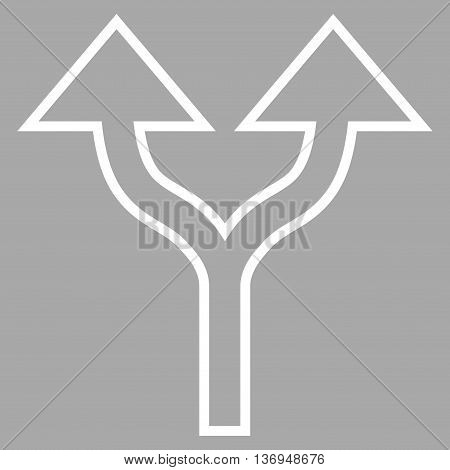 Split Arrows Up vector icon. Style is thin line icon symbol, white color, silver background.