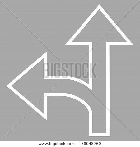 Split Direction Left Forward vector icon. Style is outline icon symbol, white color, silver background.
