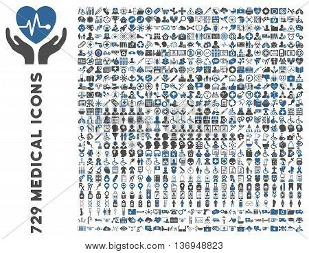 Medical Icon Clipart with 729 vector icons. Style is bicolor cobalt and gray flat icons isolated on a white background.