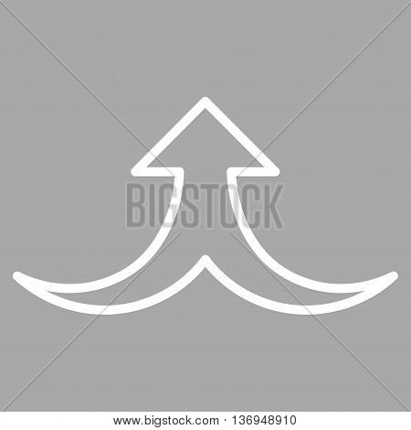 Together Arrow Up vector icon. Style is outline icon symbol, white color, silver background.