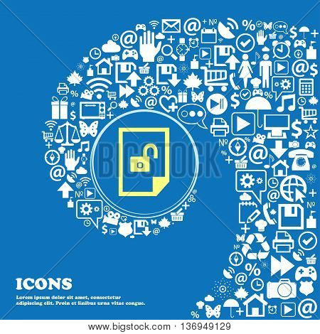 File Unlocked Icon Sign . Nice Set Of Beautiful Icons Twisted Spiral Into The Center Of One Large Ic