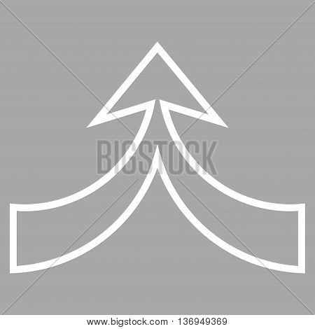 Unite Arrow Up vector icon. Style is thin line icon symbol, white color, silver background.