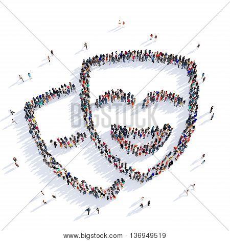 Large and creative group of people gathered together in the form of a mask, a masquerade. 3D illustration, isolated against a white background.