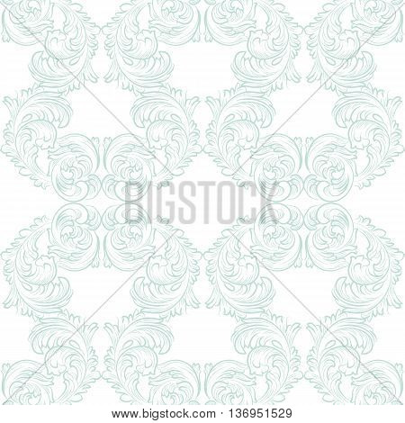 Vector Vintage floral acanthus Pattern ornament Imperial style. Ornate floral element for fabric textile design wedding invitations greeting cards. Opal blue color