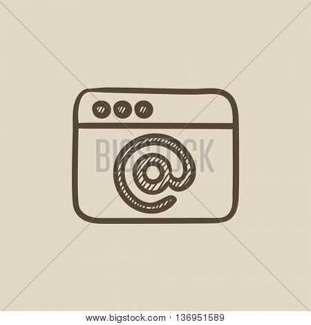 Browser window with email sign vector sketch icon isolated on background. Hand drawn Browser window with email sign icon. Browser window with email sign sketch icon for infographic, website or app.
