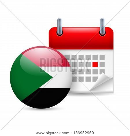 Calendar and round Sudan flag icon. National holiday in Sudan