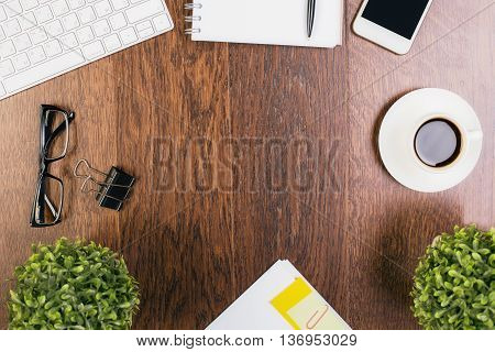 Wooden Desk With Various Items