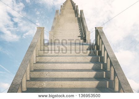 Concrete stairs in the sky leading to success. 3D Rendering