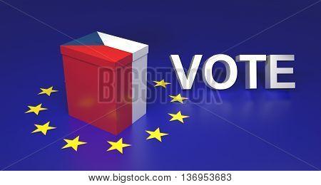 The illustration symbolize Czech leaving EU voting. Text written VOTE. 3D rendering