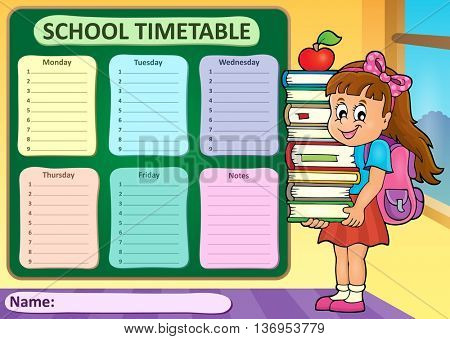 Weekly school timetable theme 4 - eps10 vector illustration.