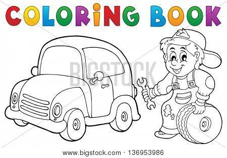 Coloring book car mechanic theme 1 - eps10 vector illustration.
