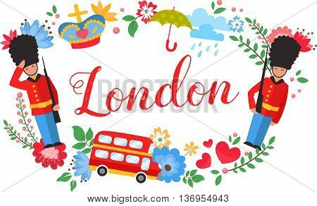 London Floral Wreath Postcard With Sightseeing Elements