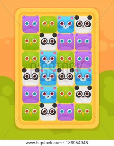 Match three mobile game user interface with cute square animals icons: bear panda raccoon bird