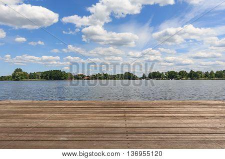 Blue Sky At Lake Landscape And Wooden Pier , Summer Background