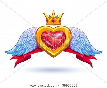 Cool vector ruby heart with golden crown and white wings icon, GUI element, fancy luxury love symbol on white background
