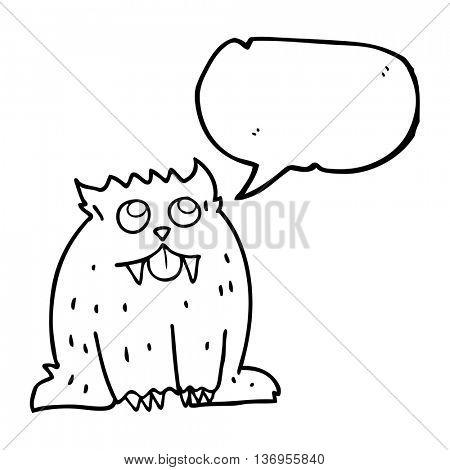 freehand drawn speech bubble cartoon beast