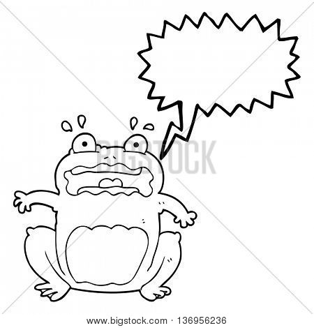 freehand drawn speech bubble cartoon funny frightened frog