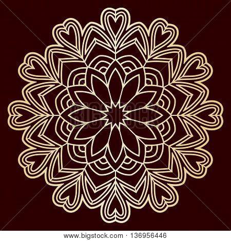 Openwork pattern golden mandala. Laser cutting template for wedding envelopes invitations decorative elements.