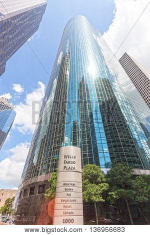 HOUSTON USA - APR 14 2016: Skyscrapers at the Well Fargo Plaza in Houston Downtown district. Texas United States
