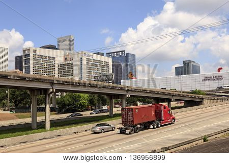 HOUSTON USA - APR 14 2016: Freeway 69 and Easter Freeway ramp in Houston downtown district. Texas United States