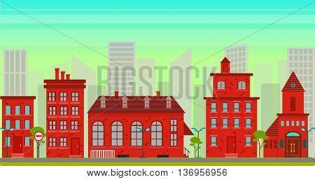 City landscape in flat style, red houses scene, horizontal urban vector illustration