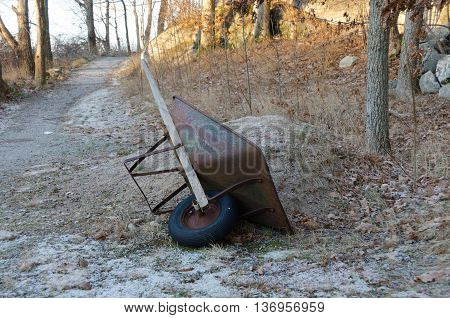 one wheelbarrow in the forrest waiting to work
