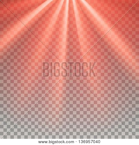 Red flare. Laser light. Glaring effect with transparency. Abstract glowing light background. Ready to apply. Graphic element for documents, templates, posters, flyers. Vector illustration