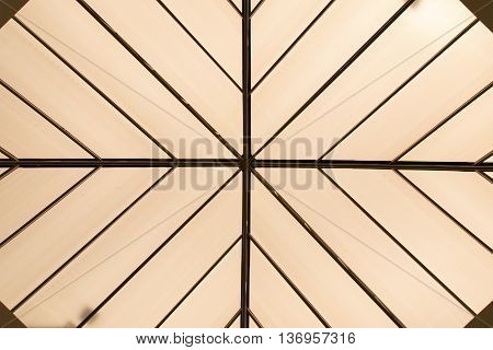 Top view line roof structure and translucent tiles for abstract background