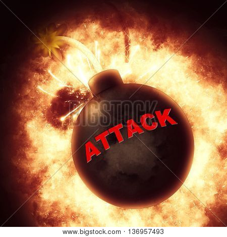 Attack Bomb Indicates Combat Fighting And Clashes