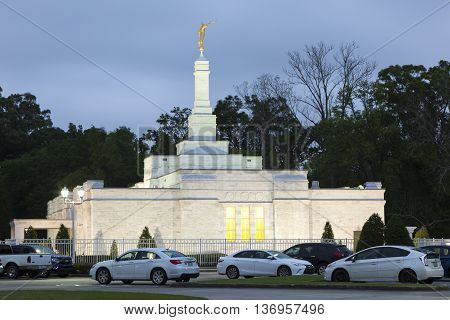 BATON ROUGE USA - APR 15 2016: The Church of Jesus Christ of Latter-Day Saints in Baton Rouge. Louisiana United States