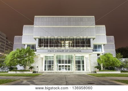 BATON ROUGE USA - APR 15: State Library of Louisiana building in Baton Rouge illuminated at night. April 15 2016 in Baton Rouge Louisiana United States