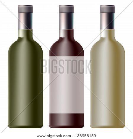 set of wine bottle, vector set of bottles for wine, for your design