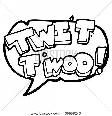 freehand drawn speech bubble cartoon twit two owl call text
